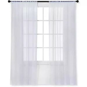 Snow White Sheer Curtain Panel Crinkle New NWT